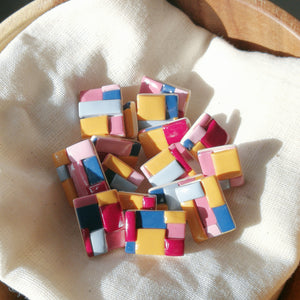 Polymer Clay Earring - Colour Block #CB (Stud 1) - Thehappyslabs