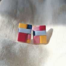 Load image into Gallery viewer, Polymer Clay Earring - Colour Block #CB (Stud 1) - Thehappyslabs