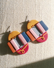 Load image into Gallery viewer, Polymer Clay Earring - Colour Block (Dangles) - Thehappyslabs