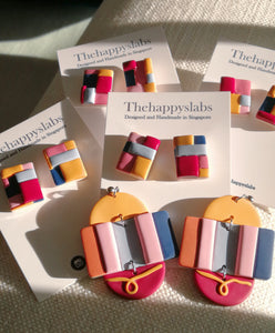 Polymer Clay Earring - Colour Block (Dangles) - Thehappyslabs
