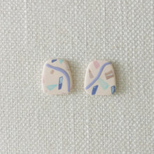 Load image into Gallery viewer, Polymer Clay Earring - Confetti ( blue rect) - Thehappyslabs