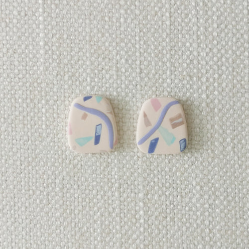Polymer Clay Earring - Confetti ( blue rect) - Thehappyslabs
