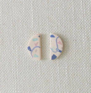 Polymer Clay Earring - Confetti (semi circle) - Thehappyslabs