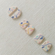Load image into Gallery viewer, Polymer Clay Earring - Confetti ( yellow rect) - Thehappyslabs