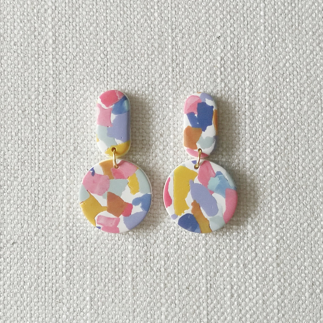 Polymer Clay Earring - Camoufleur (Circle dangle) - Thehappyslabs