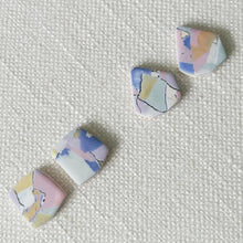 Load image into Gallery viewer, Polymer Clay Earrings- Marvel Marble (Rect stud) - Thehappyslabs