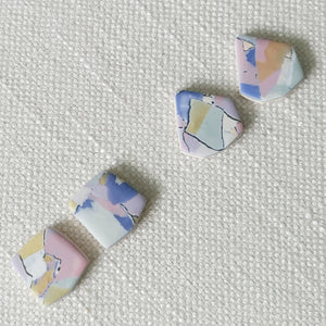 Polymer Clay Earrings- Marvel Marble (Rect stud) - Thehappyslabs