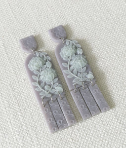 Jade Series- Lilac Grey with green flowers