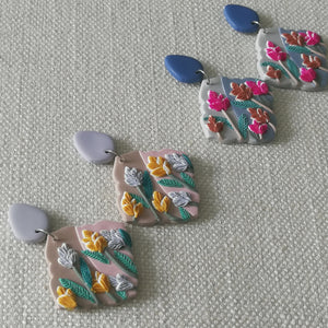 Polymer Clay Earring- Flower Shower (Pink dangles) - Thehappyslabs