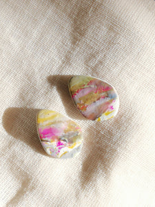 Polymer Clay Earring - Crackle Stud 2 - Thehappyslabs