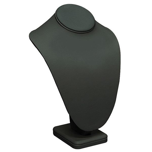 "Black Faux Leather Neckform Display 11""H"