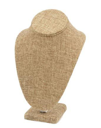 "Burlap Covered Neckform Necklace Display 10"" H"