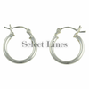 Sterling Silver 2mm x 15mm Polished Hinged Hoop Earrings Round Hollow Tube .925