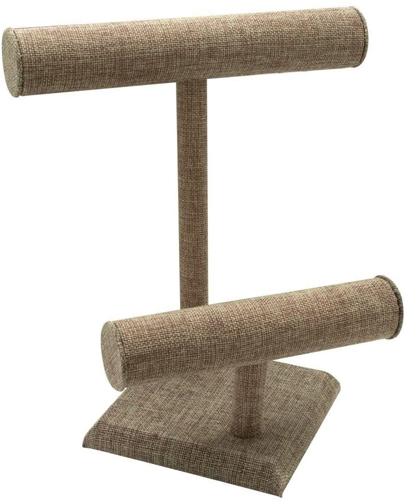 "Burlap Two-Tier T-Bar Display 10-7/8"" H"