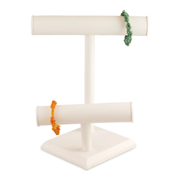 "White Faux Leather Two-Tier T-Bar Display 10-7/8"" H"