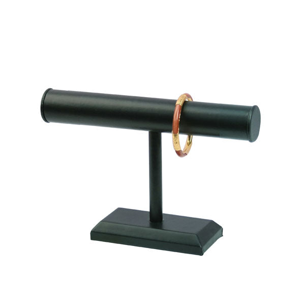 "Black Faux Leather Long Single T-Bar Display 6-3/4"" H"