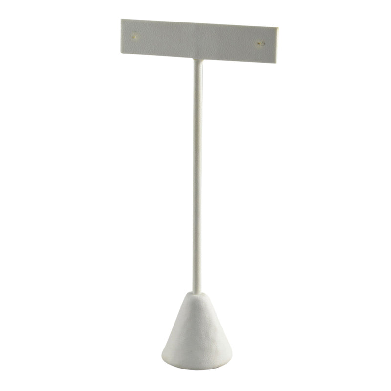 "White Faux Leather T-Shape Earring Stand Display 5-3/4""H."