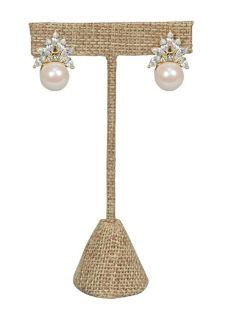 "Burlap T-Shape Earring Stand Display 4-1/2""H."