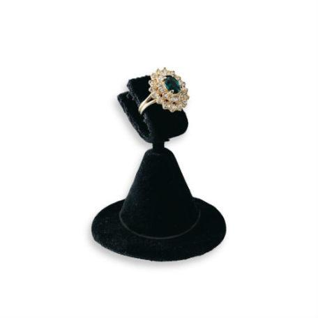 "Black Velvet Ring Clamp Stand Round Base Ring Display 2-3/8"" H."