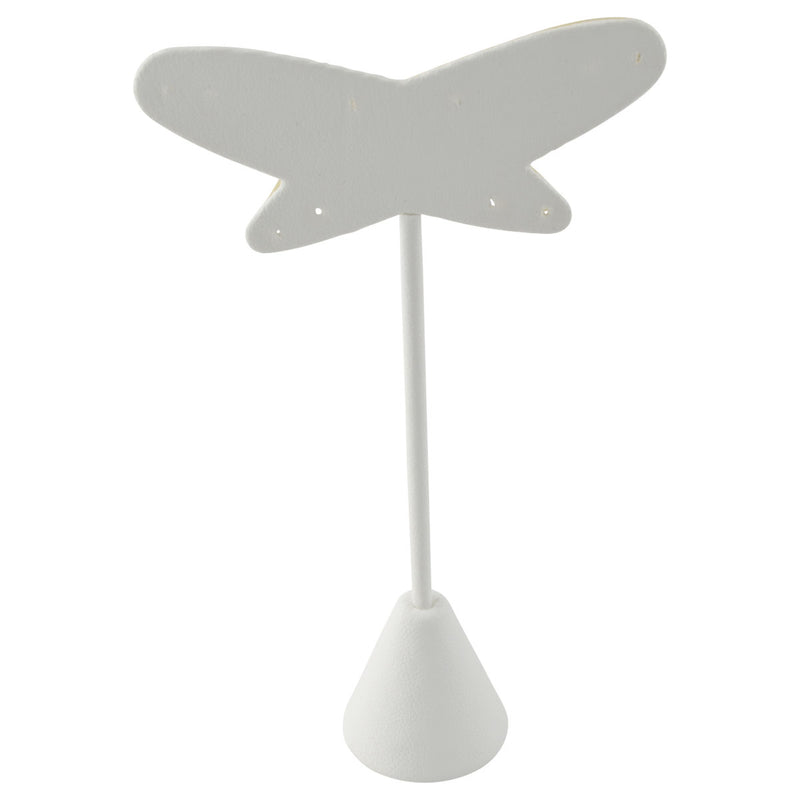 "White Faux Leather Butterfly Earring Stand Display 5-1/2""H."