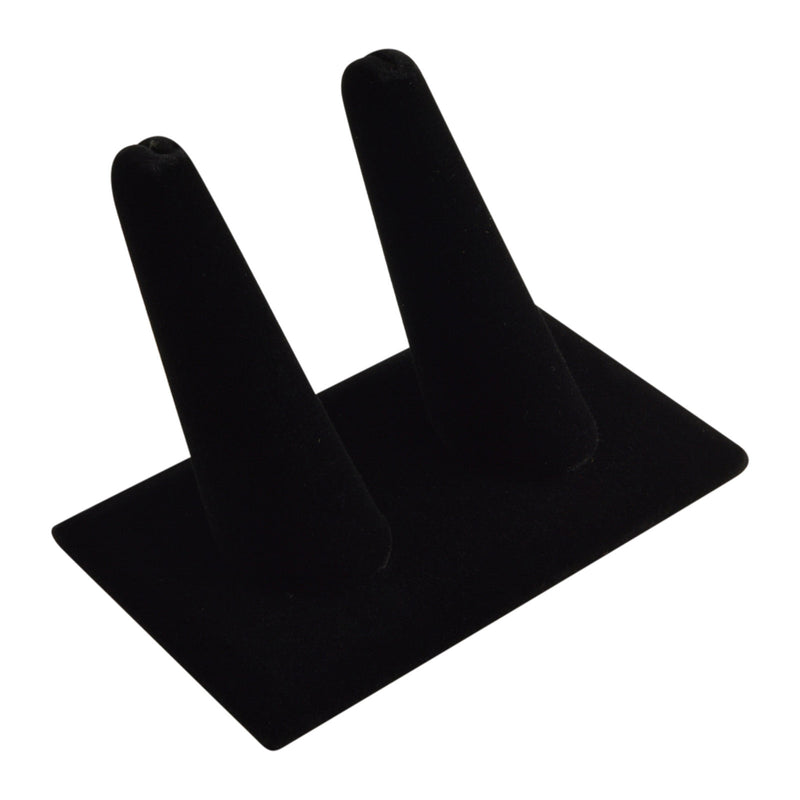 "Black Velvet Long Double Finger Square Base Ring Display 2-1/4"" H."