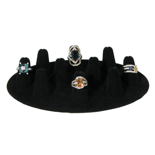 "Black Velvet Short Ten Finger Ring Display 1"" H."