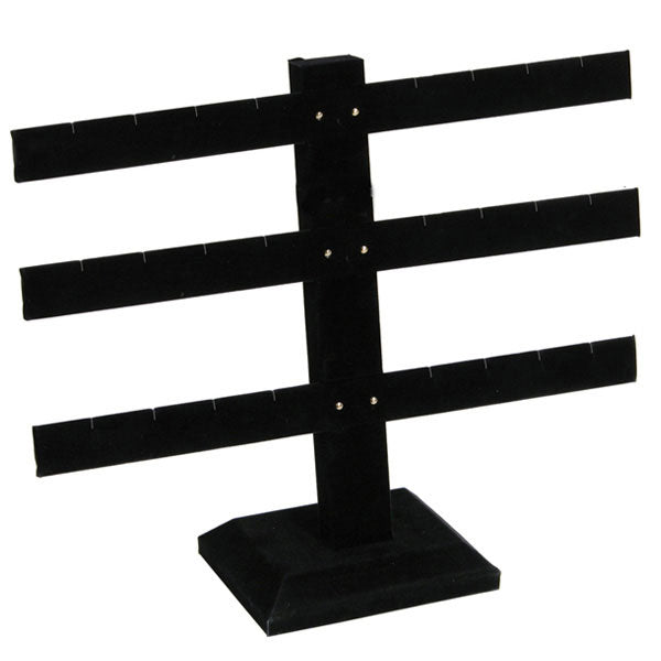 "Black Velvet 12 Pair Earring Rack Display 8-1/2"" H"