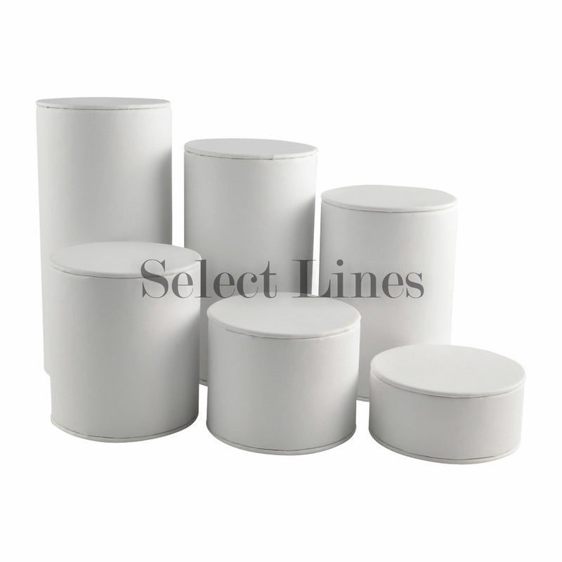 "White Faux Leather 6-Pc Cylinder Riser Block Set Display 6-1/4"" H."