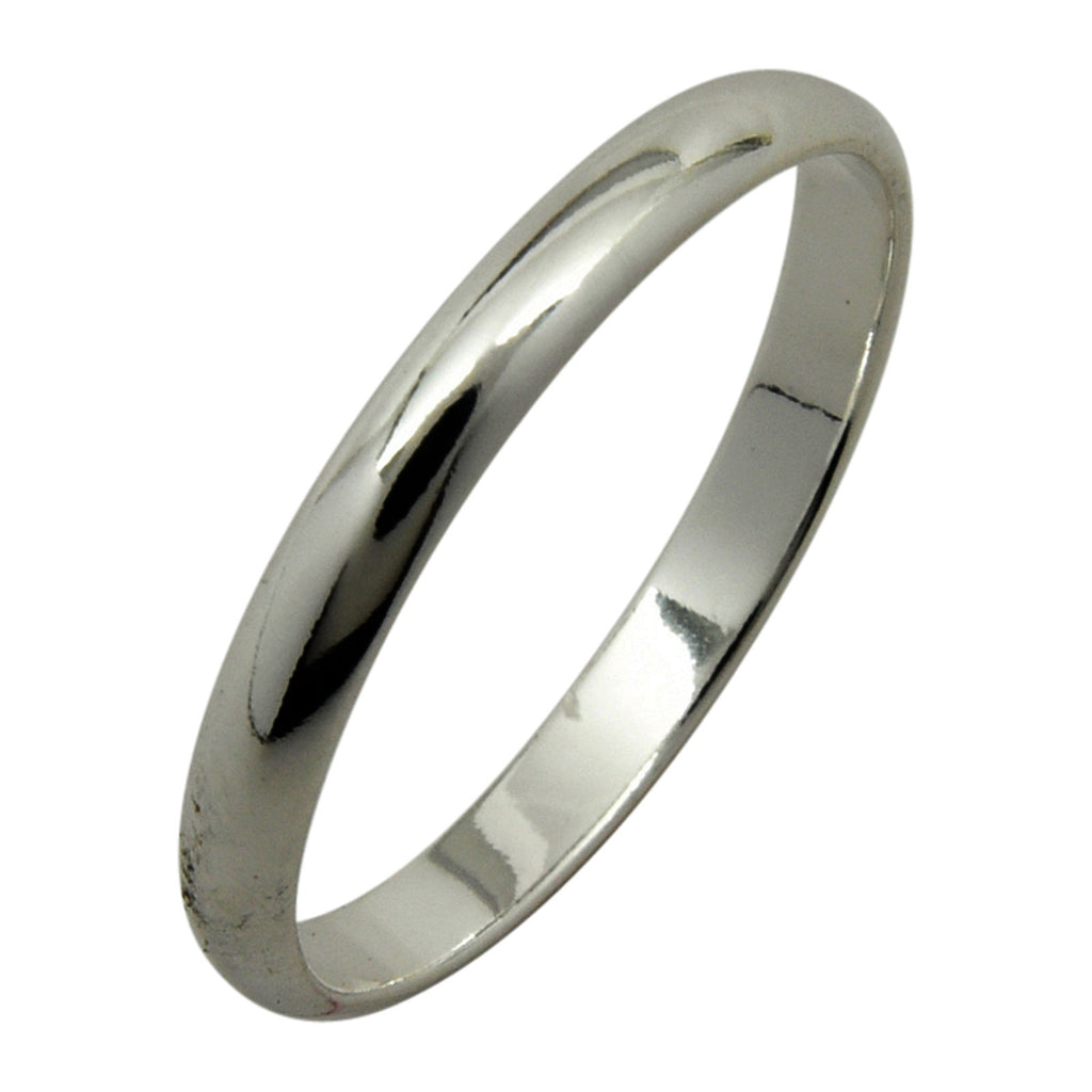 Sterling Silver 2mm Plain Half Round Wedding Band Ring Sizes 3-10