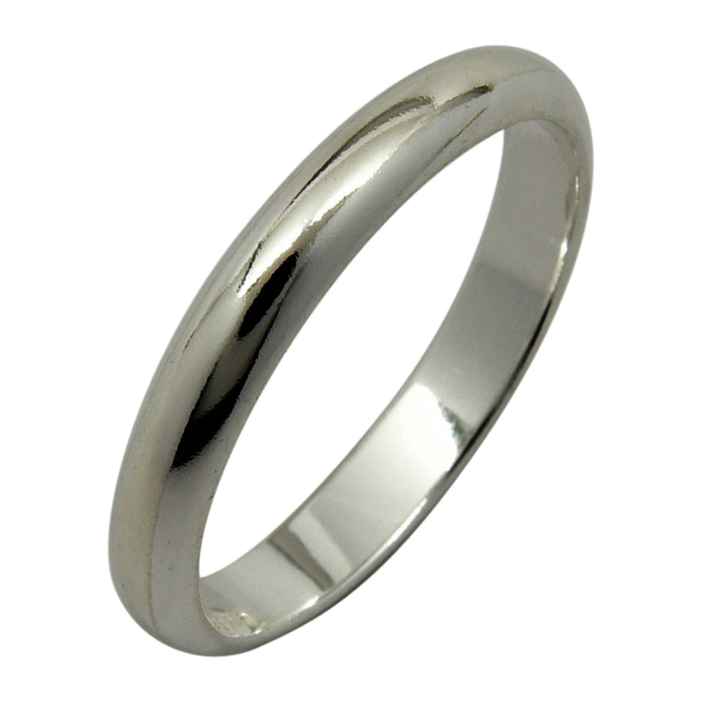 Sterling Silver 3mm Plain Half Round Wedding Band Ring Sizes 3-13
