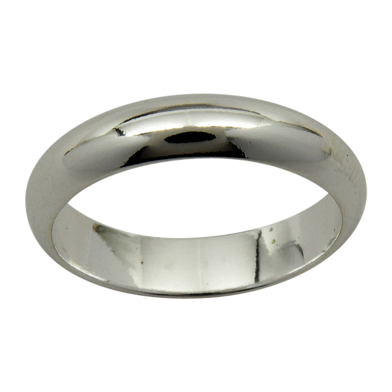 Sterling Silver 4mm Plain Half Round Wedding Band Ring Sizes 3-15
