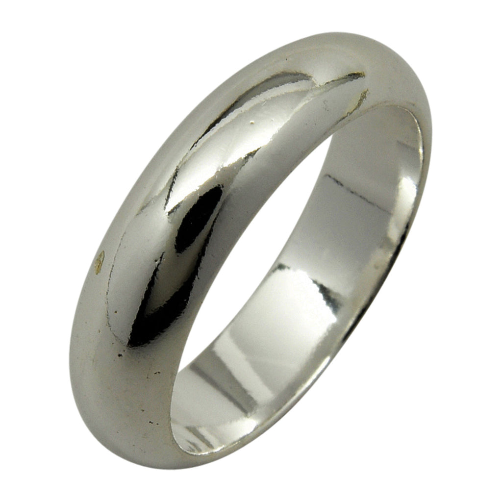 Sterling Silver 5mm Plain Half Round Wedding Band Ring Sizes 4-15
