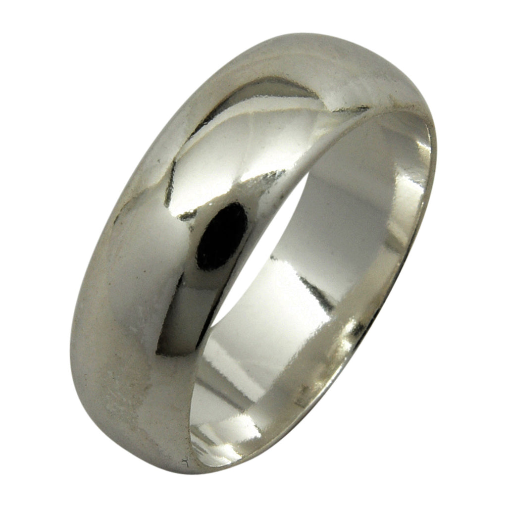 Sterling Silver 6mm Plain Half Round Wedding Band Ring Sizes 4-15