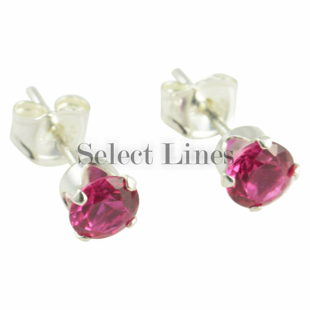 Sterling Silver Round Ruby CZ Stud Earrings - July .925 Jewelry