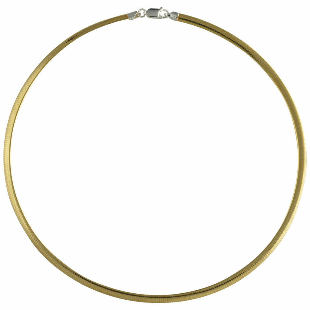Sterling Silver 6mm Reversible Two Tone Omega Necklace Italian Solid .925