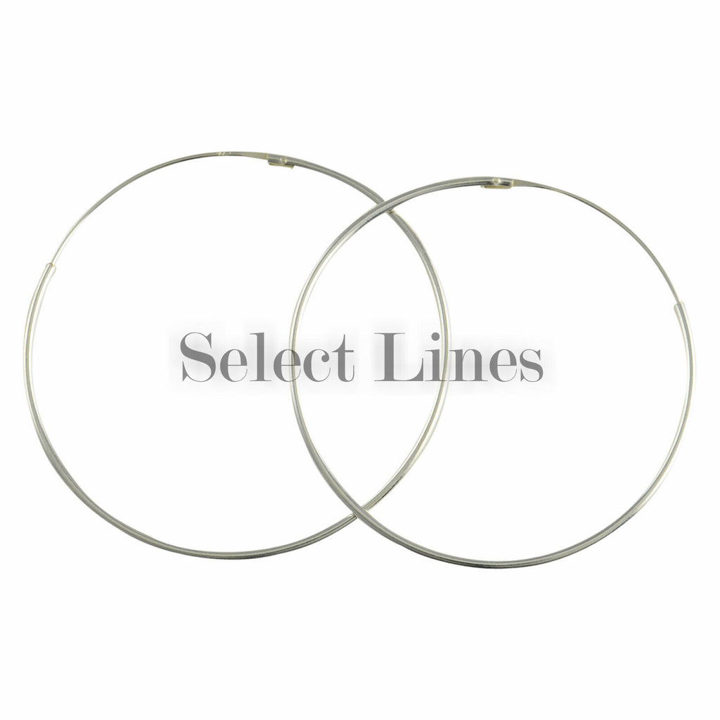 Sterling Silver 1.2mm x 50mm Endless Hoop Earrings Round Genuine Solid .925 Jewelry