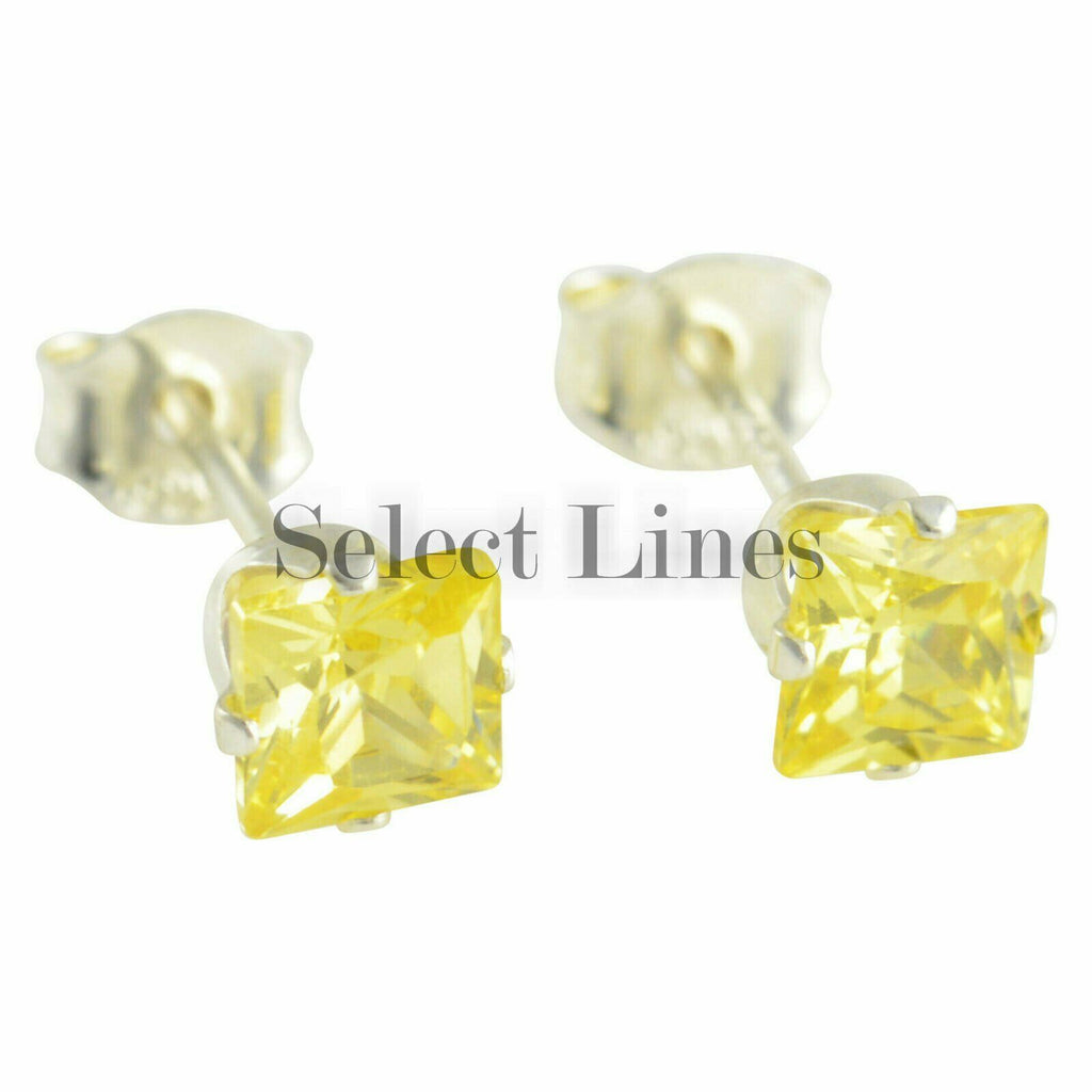 Sterling Silver Square Princess Cut Citrine CZ Stud Earrings - November Jewelry