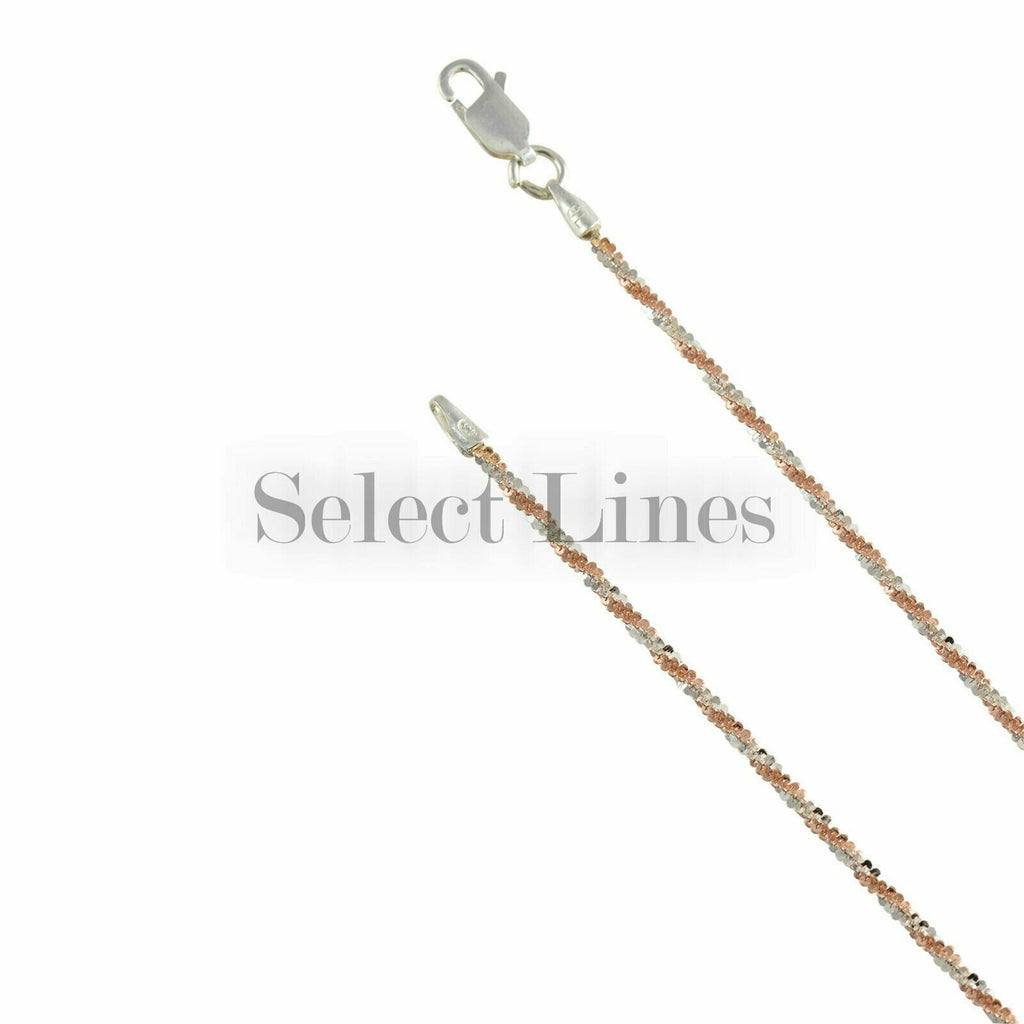 Rose Gold over Sterling Silver Criss Cross 2mm 2-Tone Chain .925 Necklace Italy