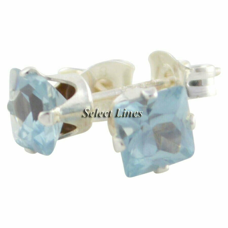 Sterling Silver Square Princess Cut Aquamarine CZ Stud Earrings - March Jewelry