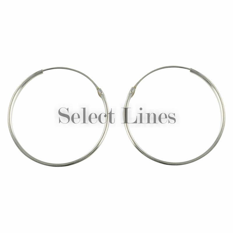 Sterling Silver 1.2mm x 30mm Endless Hoop Earrings Round Genuine Solid .925 Jewelry
