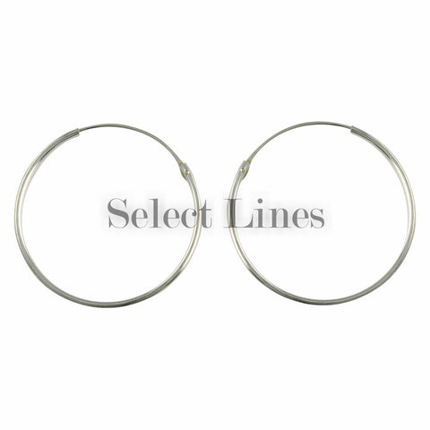 Sterling Silver 2mm x 12mm Polished Hinged Hoop Earrings Round Hollow Tube .925