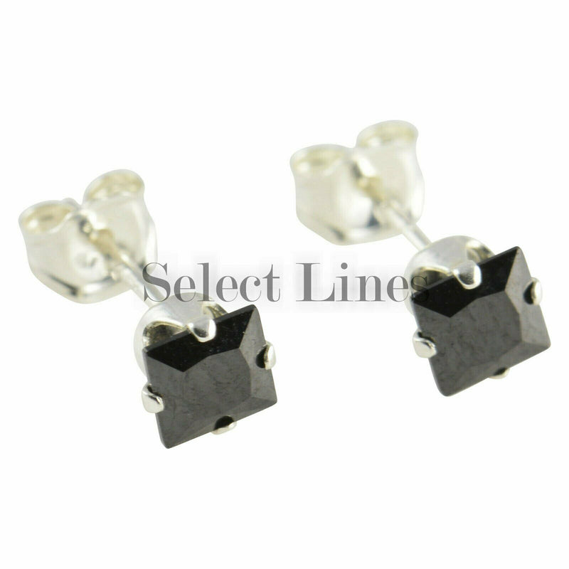 Sterling Silver Square Princess Cut Black CZ Stud Earrings Genuine .925 Jewelry