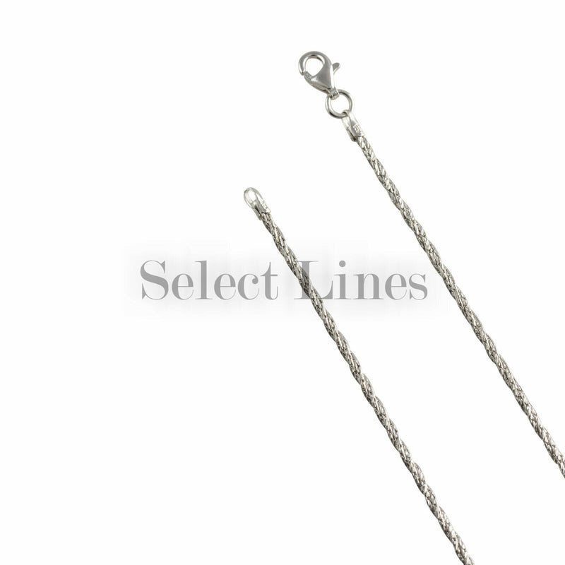 Sterling Silver Rhodium Plated Wrapped Sparkle 1.5mm Chain Necklace Solid .925