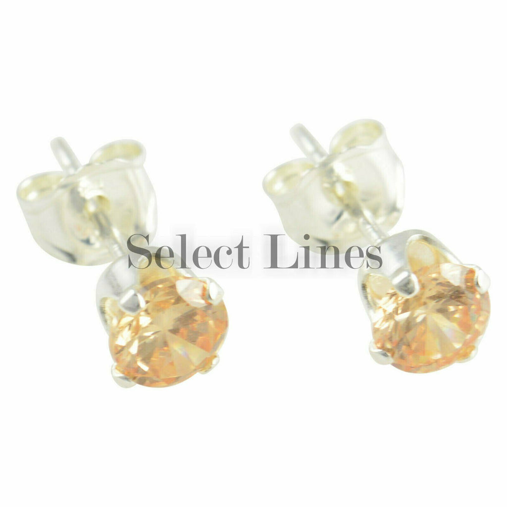 Sterling Silver Round Champagne CZ Stud Earrings Genuine .925 Jewelry
