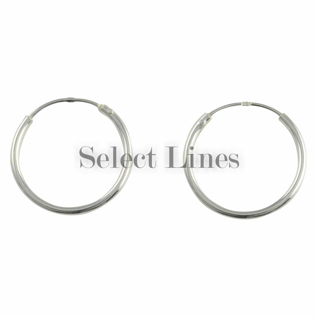 Sterling Silver 1.2mm x 16mm Endless Hoop Earrings Round Genuine Solid .925 Jewelry