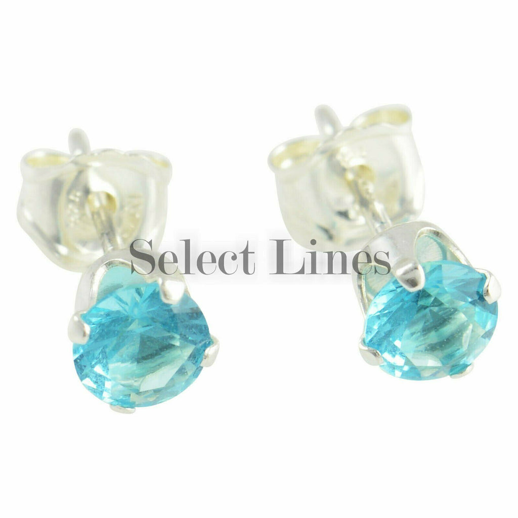 Sterling Silver Round Blue Topaz CZ Stud Earrings - December .925 Jewelry