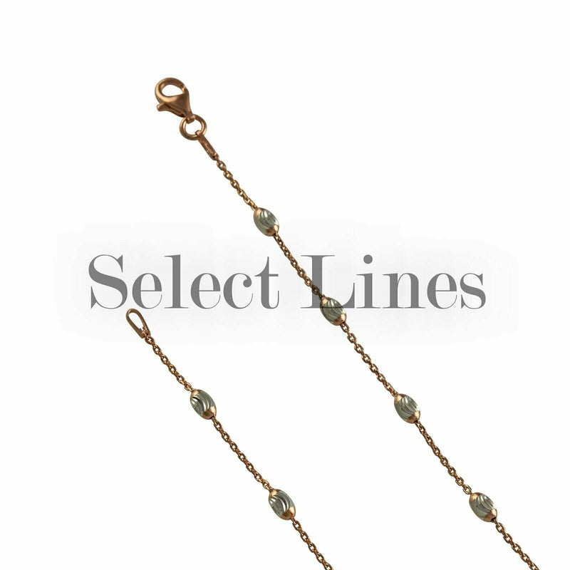 Rose Gold Sterling Silver Cable Station Oval Moon Bead 2-Tone Chain Necklace
