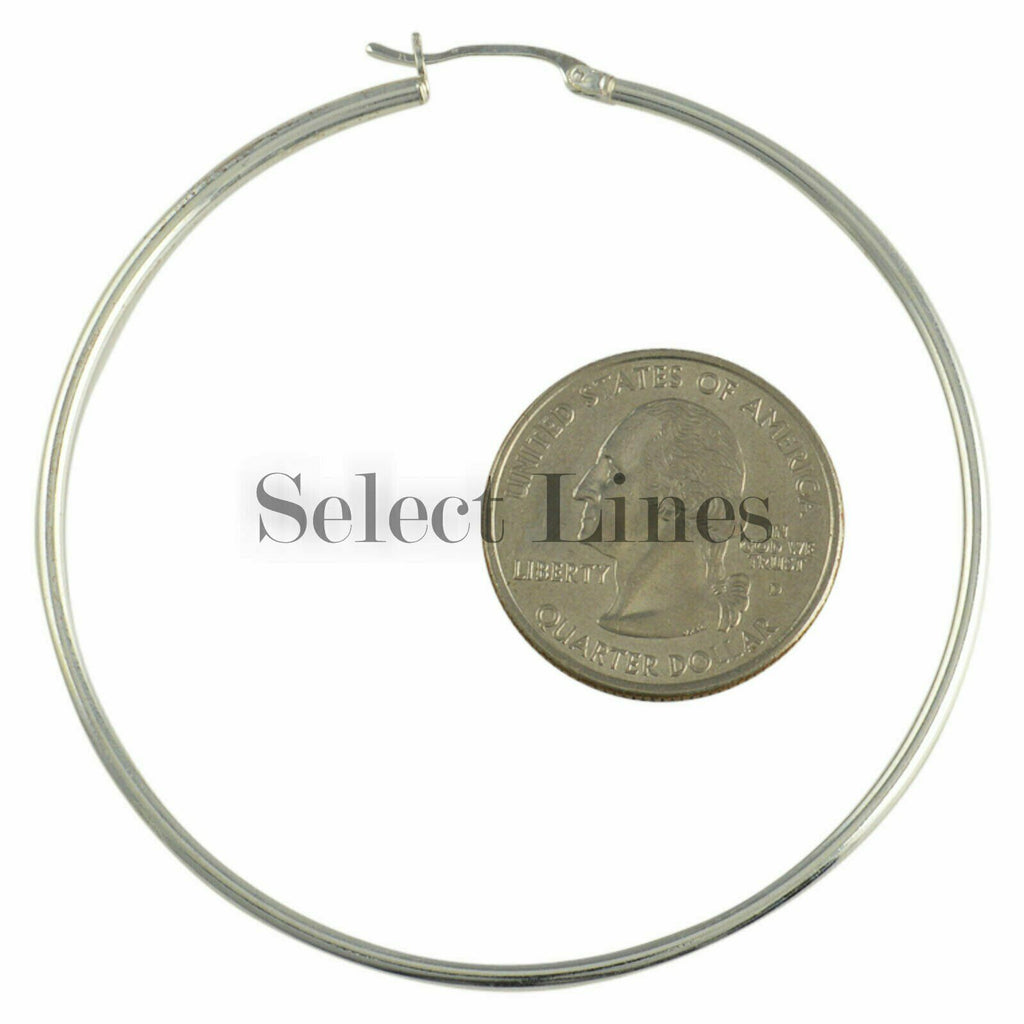 Sterling Silver 2mm x 60mm Polished Hinged Hoop Earrings Round Hollow Tube .925