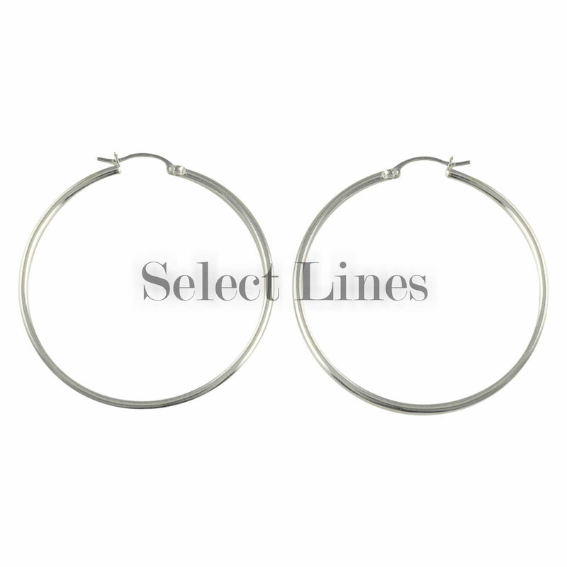 Sterling Silver 2mm x 45mm Polished Hinged Hoop Earrings Round Hollow Tube .925