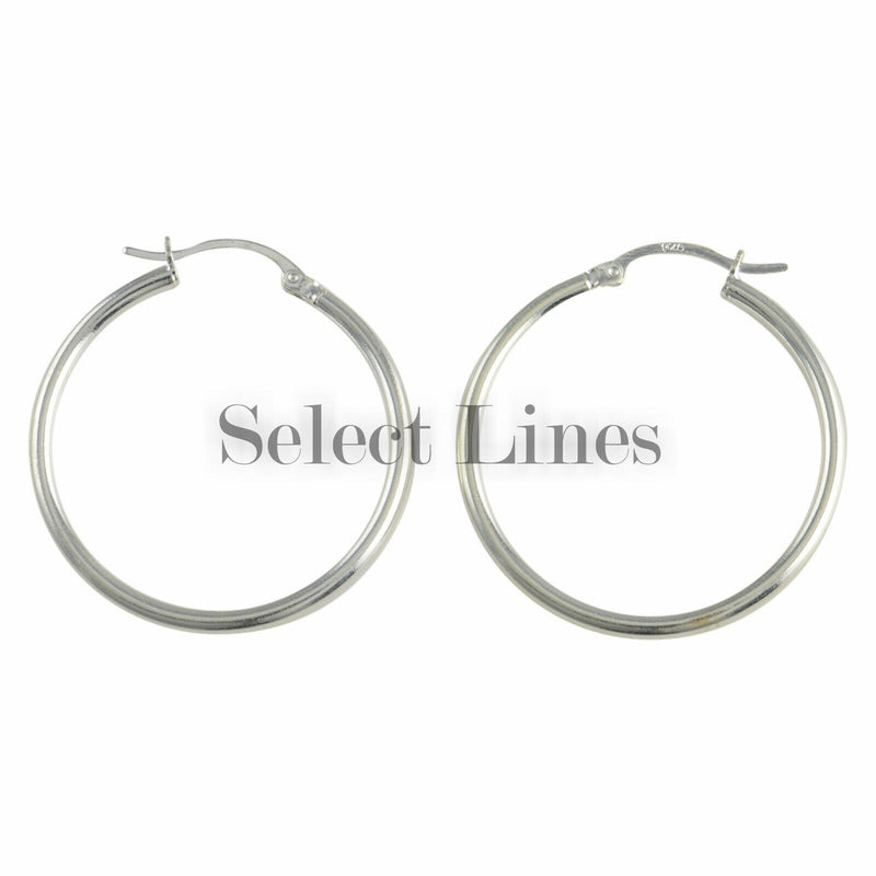 Sterling Silver 2mm x 30mm Polished Hinged Hoop Earrings Round Hollow Tube .925